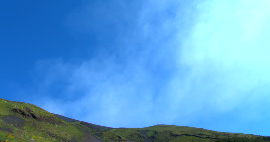 View of smoking Mount Etna in Sicily, August 2014