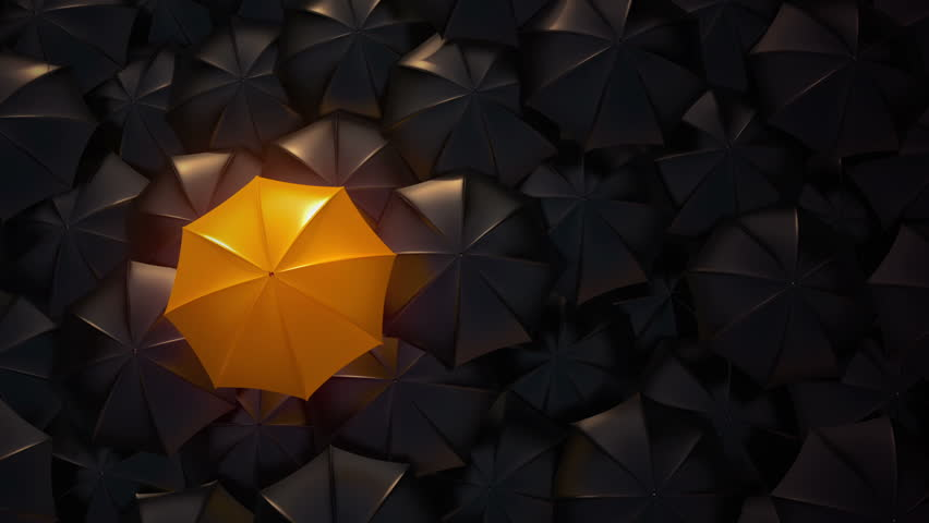 Orange umbrella open and standing out from crowd mass black umbrellas, design background text concept, above point