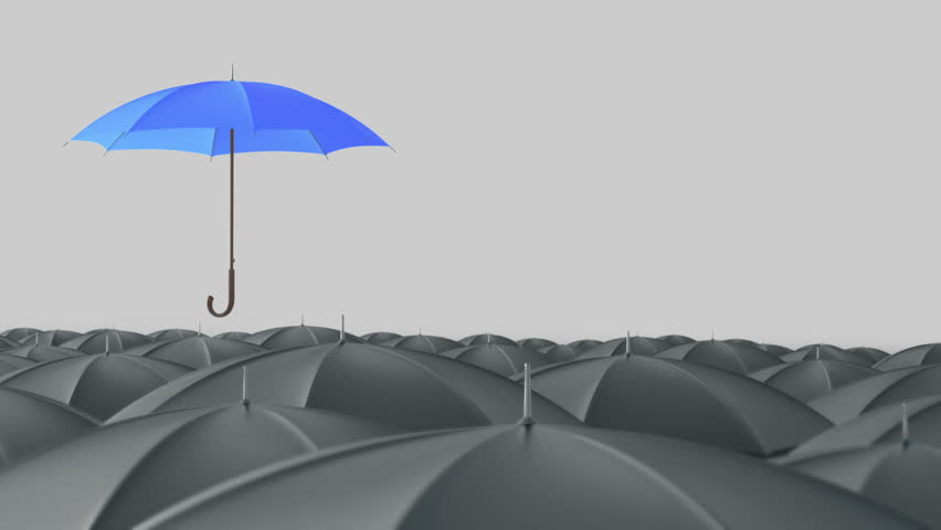 Blue umbrella open and standing out from crowd mass grey umbrellas, design background text concept, up point, with color mask