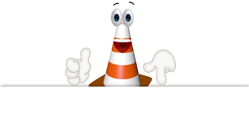 construction cone site wait inactive funny cartoon illustration - HD stock footage clip