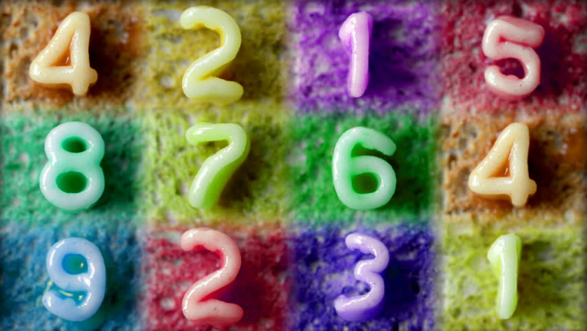 number sequence made from spaghetti pasta letters in tomato sauce on toast - HD stock footage clip
