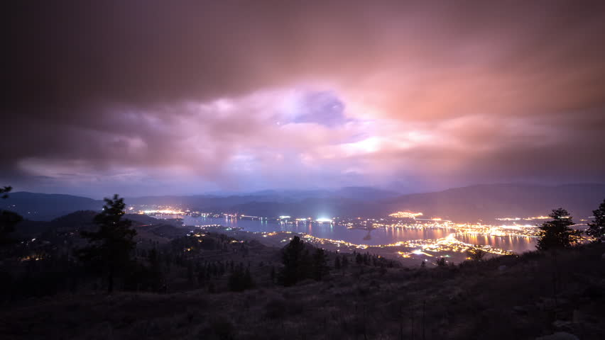 Time lapse of cloudy night at Osoyoos, British Columbia, Canada