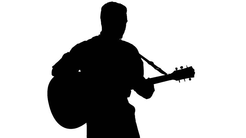 Black Silhouette Of Guy Playing Guitar On White Background ...