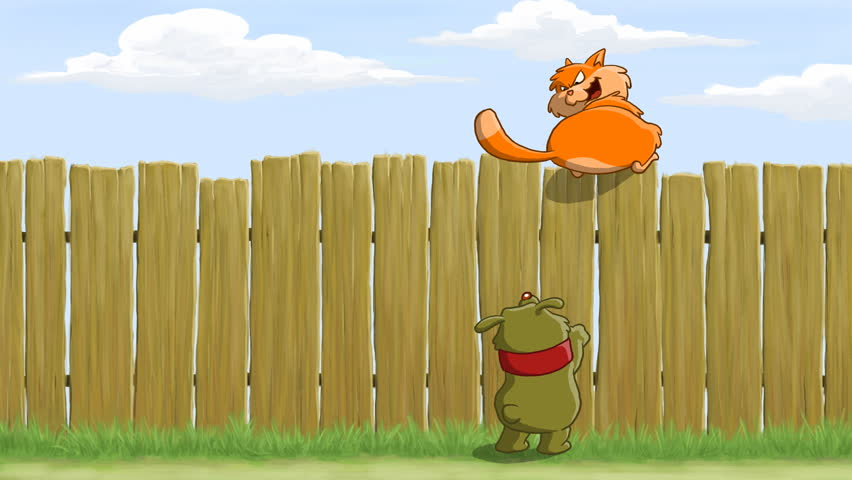on the fence cat teasing dog  animated cartoon stock free funny cat clipart funny cat clip art for bathroom