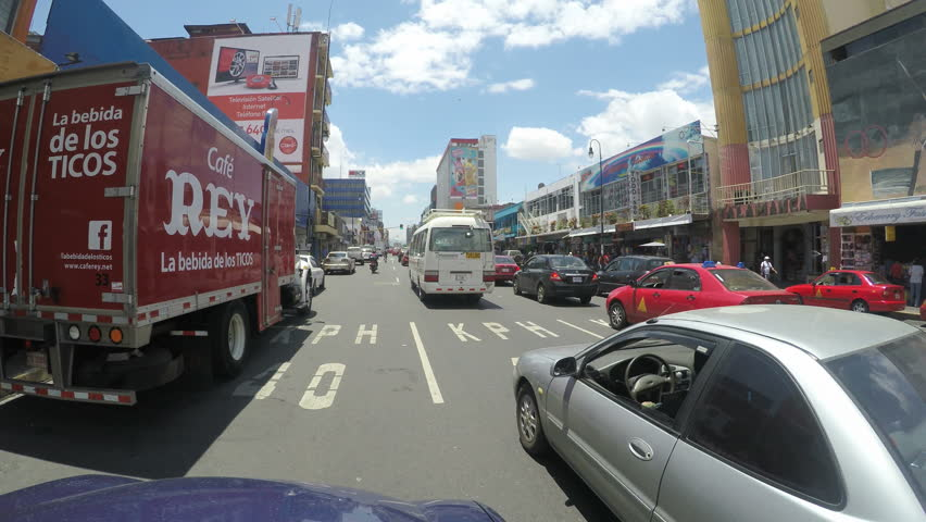 SAN JOSE, COSTA RICA - MAY 6, 2015: Traffic jam on main street in San Jose, Costa Rica on May 6, 2015. San Jose is still one of the safest and least violent cities in the region.