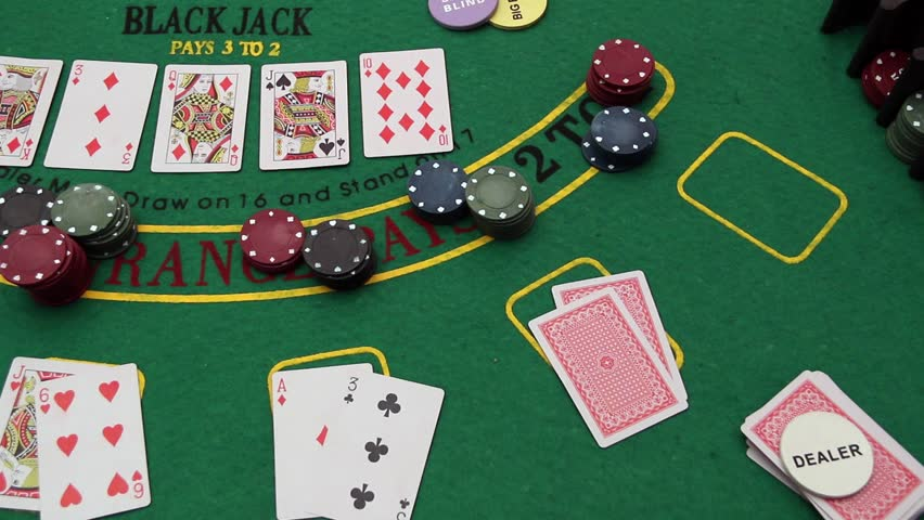 Poker Table Showdown Texas Hold Em Double Aces Stock