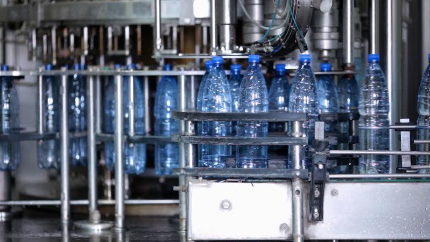 Water bottle factory - HD stock footage clip